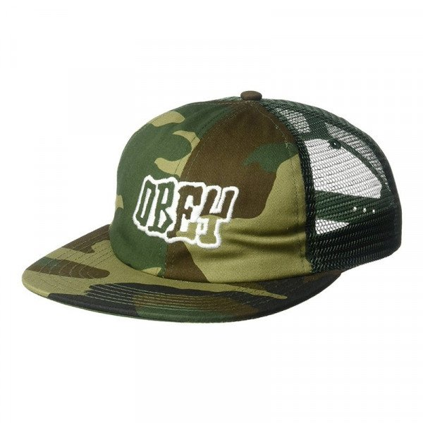 OBEY CEPURE RUNNIN TRUCKER HAT FIELD CAMO S18