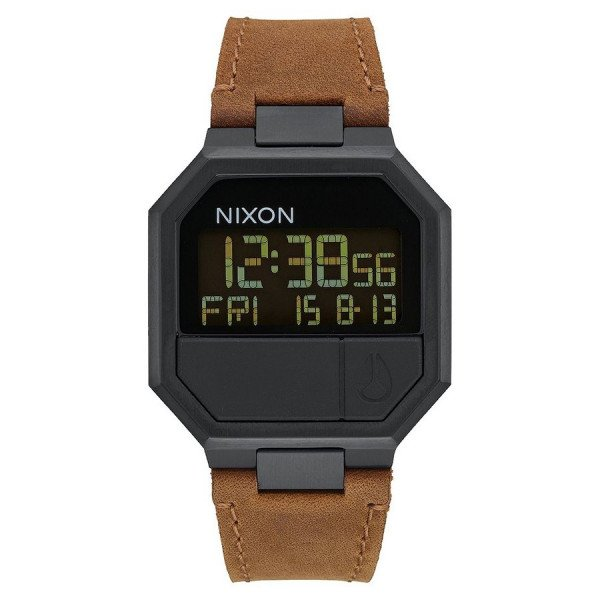 NIXON PULKSTENIS RE-RUN LEATHER ALL BLACK BROWN