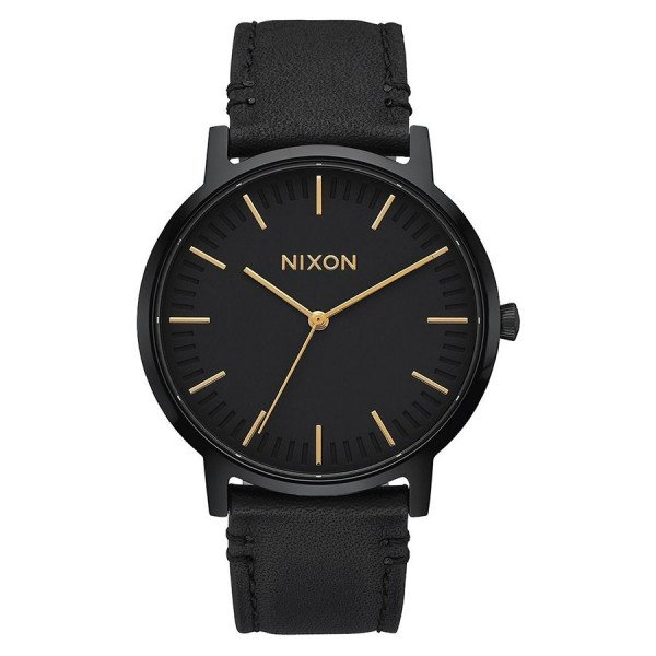 NIXON PULKSTENIS PORTER LEATHER ALL BLACK GOLD