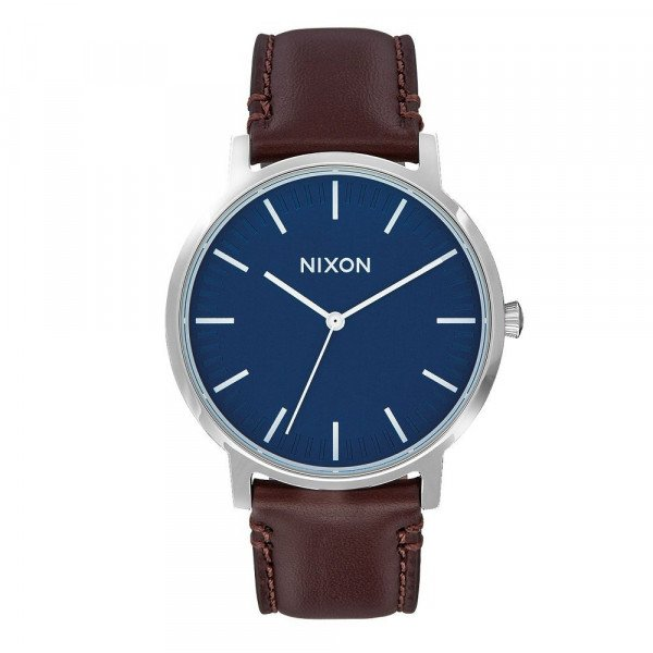 NIXON PULKSTENIS PORTER LEATHER NAVY BROWN