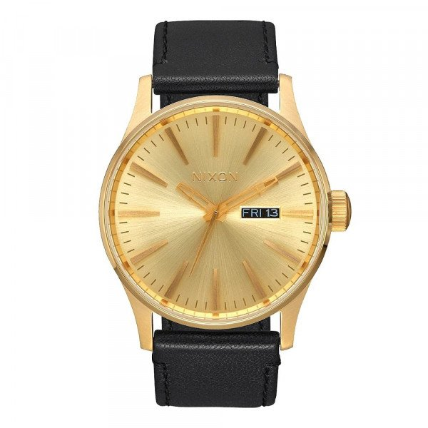 NIXON WATCH SENTRY LEATHER ALL GOLD BLACK