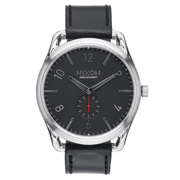 NIXON PULKSTENIS C45 LEATHER BLACK RED