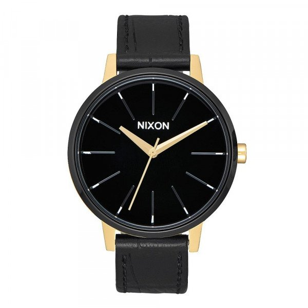 NIXON PULKSTENIS KENSINGTON LEATHER GOLD BLACK WHITE