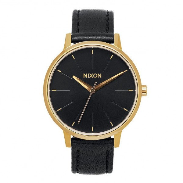 NIXON WATCH KENSINGTON LEATHER GOLD BLACK