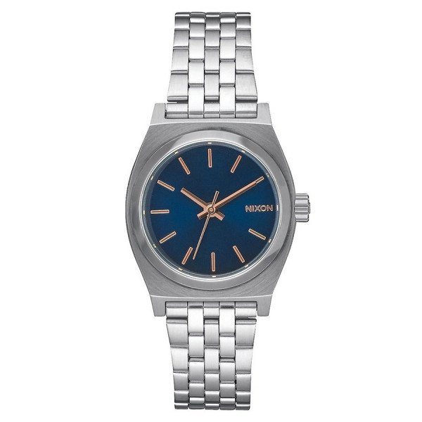 NIXON WATCH SMALL TIME TELLER NAVY ROSE GOLD