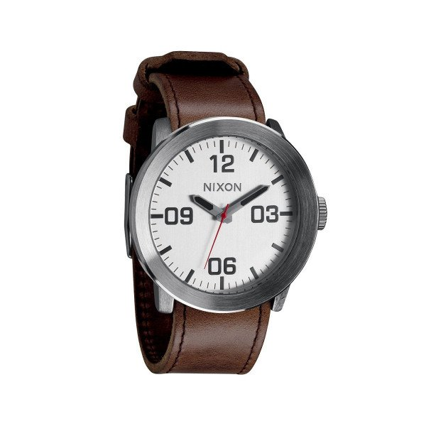 NIXON WATCH CORPORAL SILVER BROWN