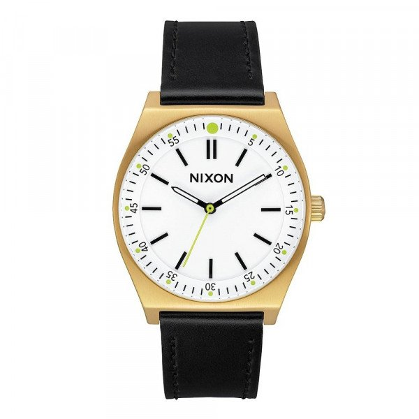 NIXON PULKSTENIS CREW LEATHER GOLD CREAM BLACK