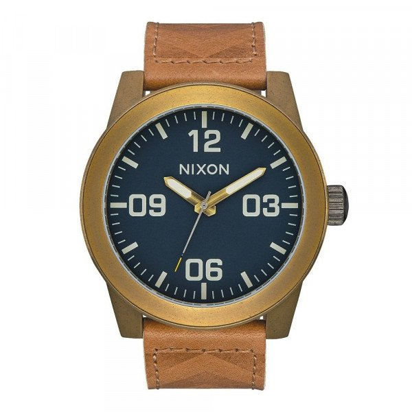 NIXON WATCH CORPORAL BRASS NAVY HICKORY