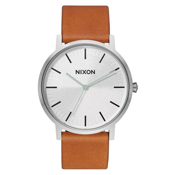 NIXON WATCH PORTER LEATHER SILVER TAN