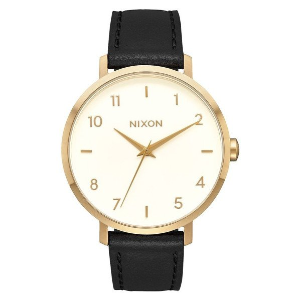 NIXON WATCH ARROW LEATHER GOLD CREAM BLACK