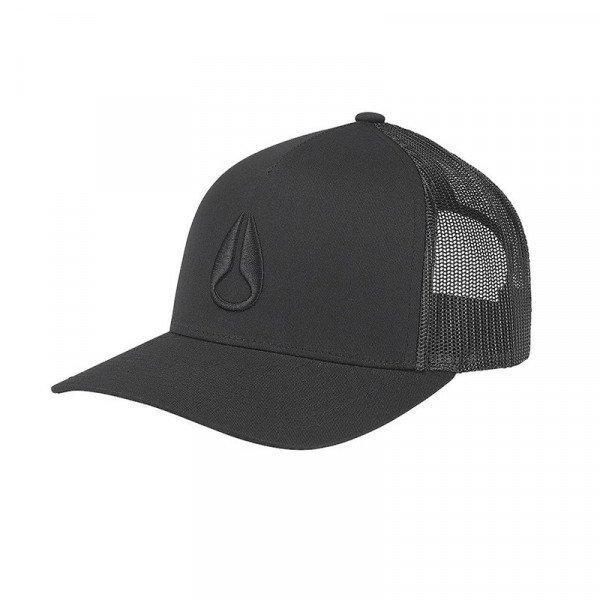 NIXON CEPURE ICONED TRUCKER HAT BLACK BLACK