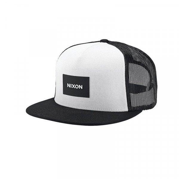 NIXON CEPURE ICONED TRUCKER HAT BLACK WHITE