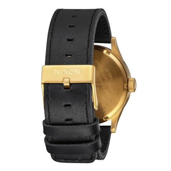 NIXON PULKSTENIS SENTRY LEATHER GOLD BLACK