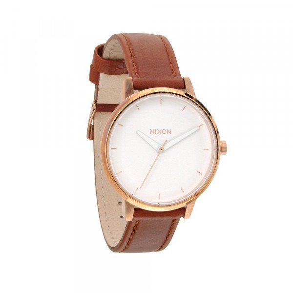 NIXON PULKSTENIS KENSINGTON LEATHER ROSE GOLD WHITE