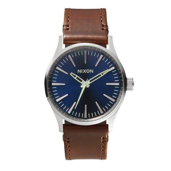 NIXON PULKSTENIS SENTRY 38 LEATHER BLUE BROWN