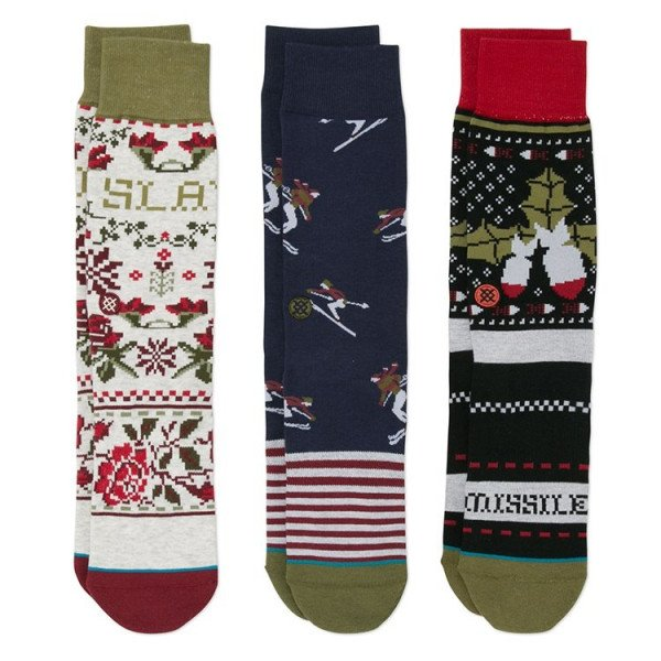 STANCE SOCKS BLUE FOUNDATION HOLIDAY 3 PACK MULTI