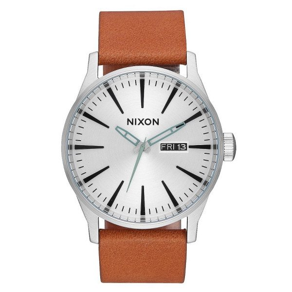 NIXON WATCH SENTRY LEATHER SILVER TAN