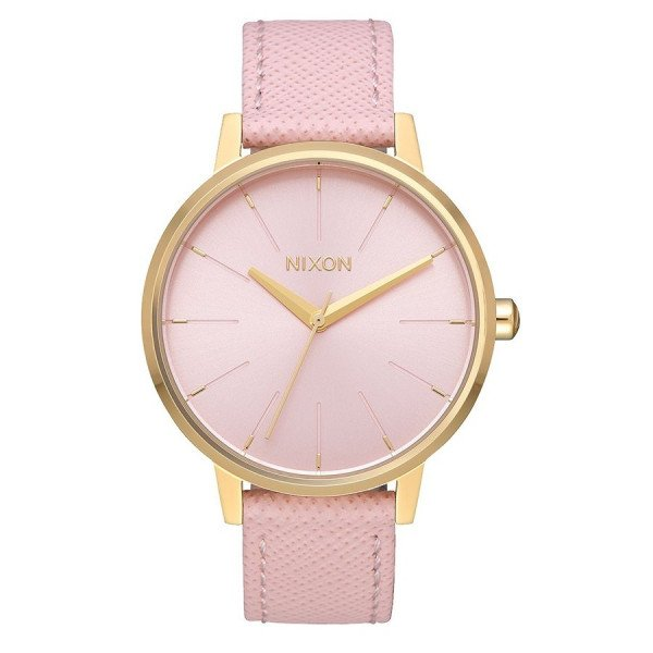 NIXON WATCH KENSINGTON LEATHER LIGHT GOLD PALE PINK