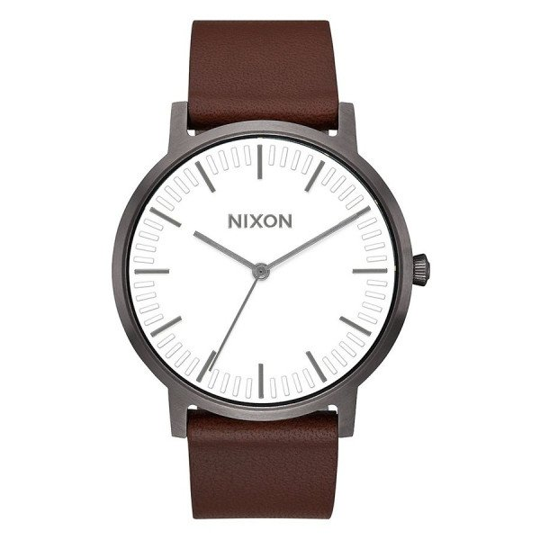 NIXON WATCH PORTER LEATHER GUNMETAL WHITE BROWN
