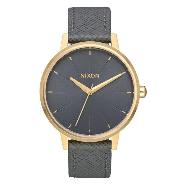 NIXON PULKSTENIS KENSINGTON LEATHER LIGHT GOLD CHARCOAL