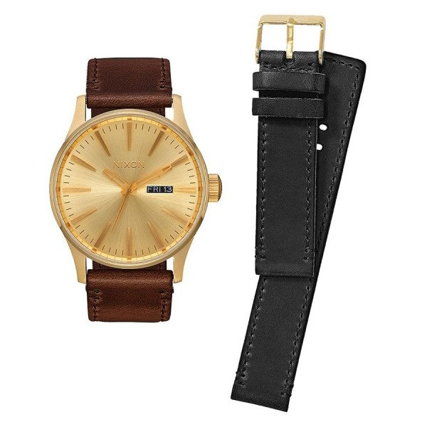 NIXON WATCH SENTRY PACK ALL GOLD BLACK BROWN