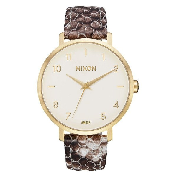 NIXON PULKSTENIS ARROW LEATHER GOLD TAUPE AMUSE