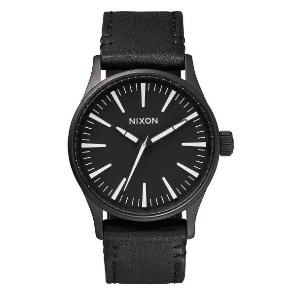 NIXON WATCH SENTRY 38 LEATHER BLACK WHITE
