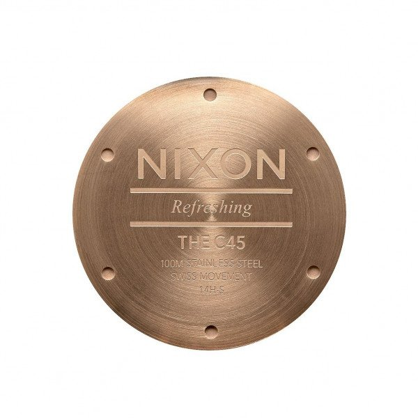 NIXON PULKSTENIS C45 LEATHER ROSE GOLD BROWN