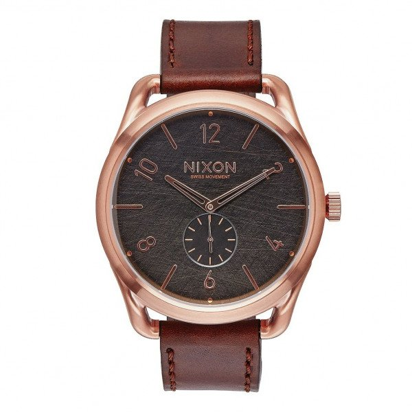 NIXON PULKSTENIS C45 LEATHER ROSE GOLD BROWN