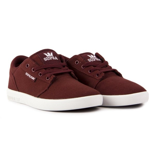 SUPRA SHOES YOREK LOW KIDS BURGUNDY WHITE