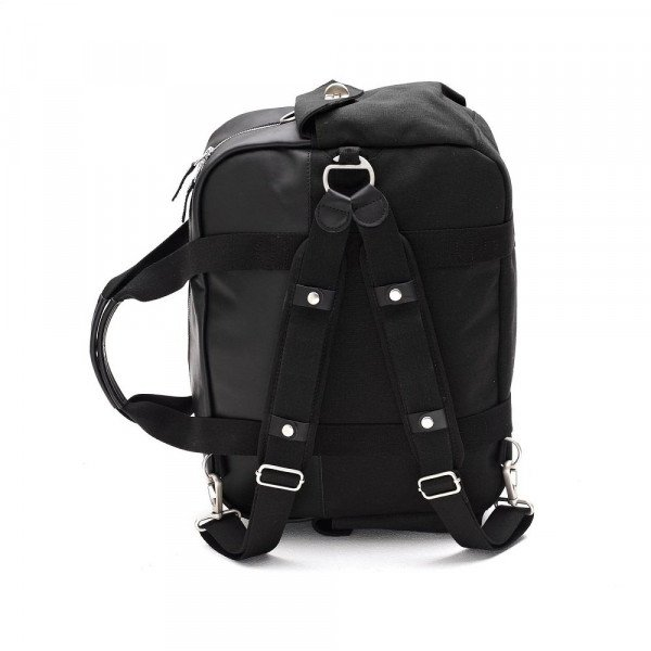 QWSTION SOMA OVERNIGHTER BLACK LEATHER CANVAS S17