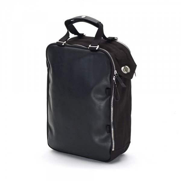 QWSTION SOMA DAYPACK BLACK LEATHER CANVAS