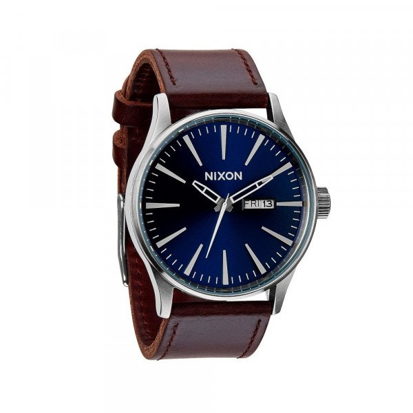 NIXON PULKSTENIS SENTRY LEATHER BLUE BROWN