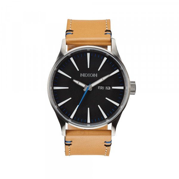 NIXON WATCH SENTRY LEATHER NATURAL/BLACK