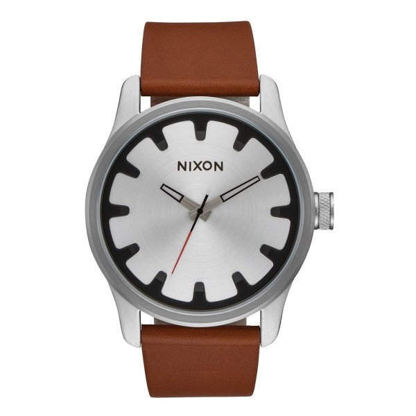 NIXON PULKSTENIS DRIVER LEATHER BLACK BROWN