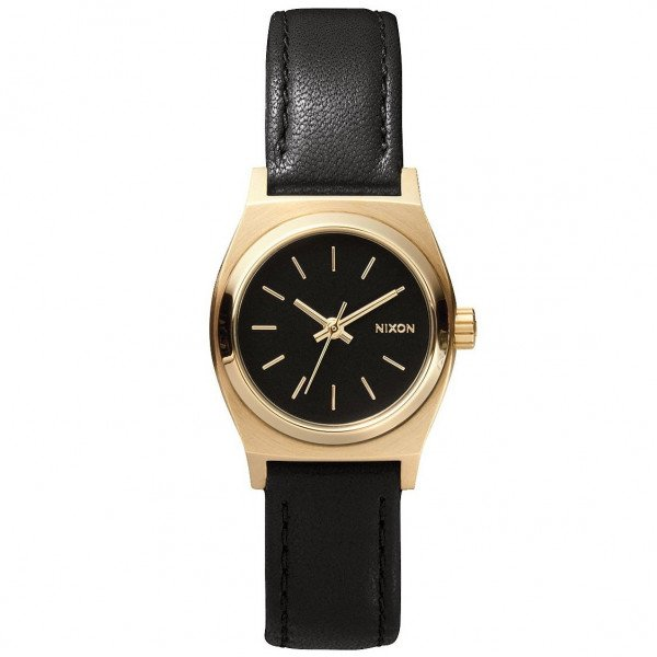 NIXON PULKSTENIS SMALL TIME TELLER LEATHER BLACK/GOLD