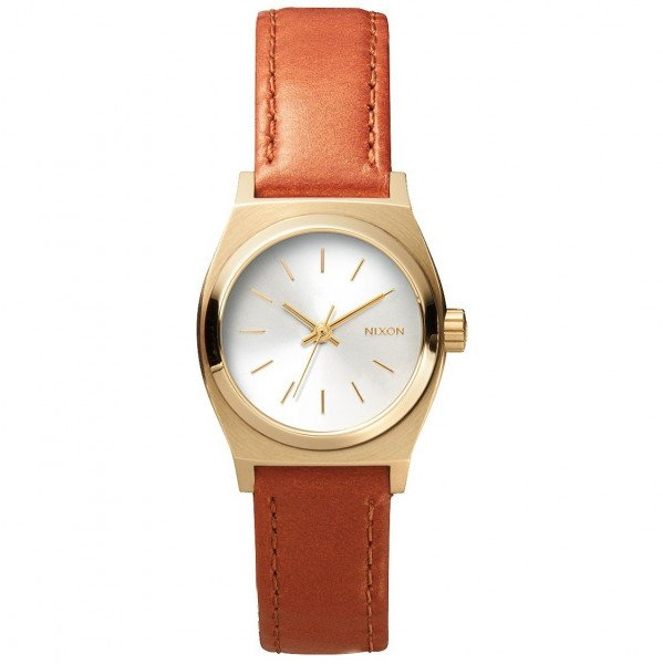 NIXON PULKSTENIS SMALL TIME TELLER LEATHER LIGHT GOLD/SADDLE