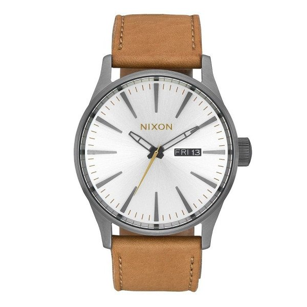 NIXON WATCH SENTRY LEATHER GUNMETAL SILVER TAN