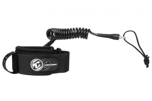 CREATURES LEASH BODYBOARD DELUXE COILED WRIST BLACK BLACK