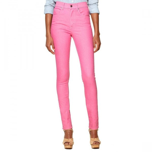 CHEAP MONDAY JEANS SECOND SKIN PINK DENIM USED SUM12