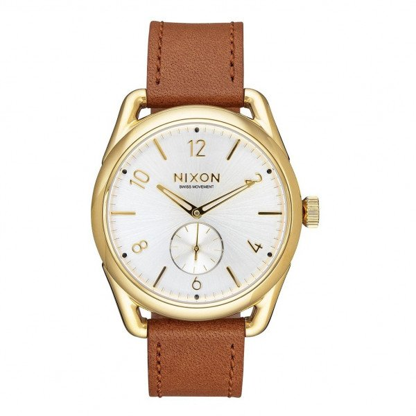 NIXON PULKSTENIS C39 LEATHER GOLD SADDLE WHITE