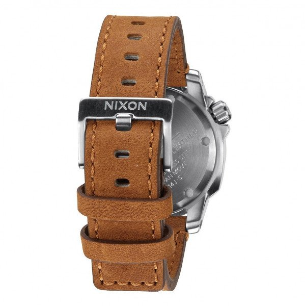 NIXON PULKSTENIS RANGER 40 LEATHER SILVER SADDLE