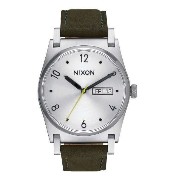 NIXON PULKSTENIS JANE LEATHER SILVER SURPLUS