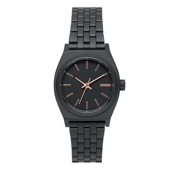 NIXON PULKSTENIS SMALL TIME TELLER ALL BLACK ROSE GOLD