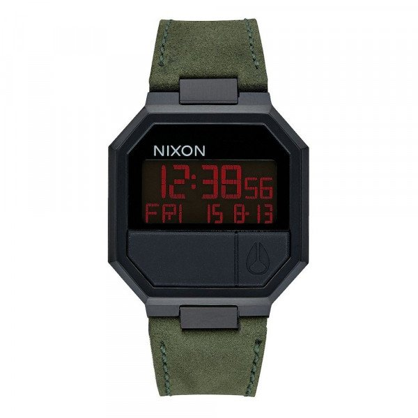 NIXON PULKSTENIS RE-RUN LEATHER ALL BLACK GREEN