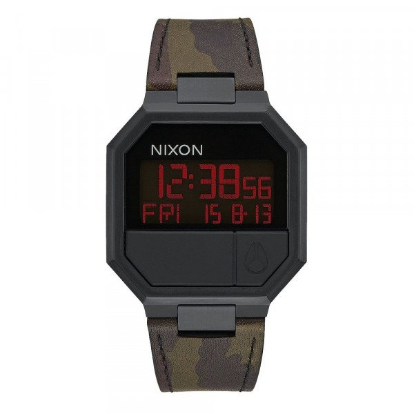 NIXON WATCH RE-RUN LEATHER ALL BLACK CAMO