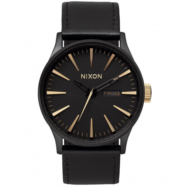 NIXON PULKSTENIS SENTRY LEATHER MATTE BLACK GOLD