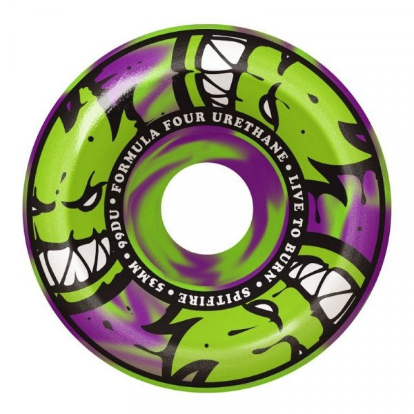 SPITFIRE SK8RITEŅI FORMULA FOUR 99D AFTERBURNS GREEN PURPLE SWIRLS
