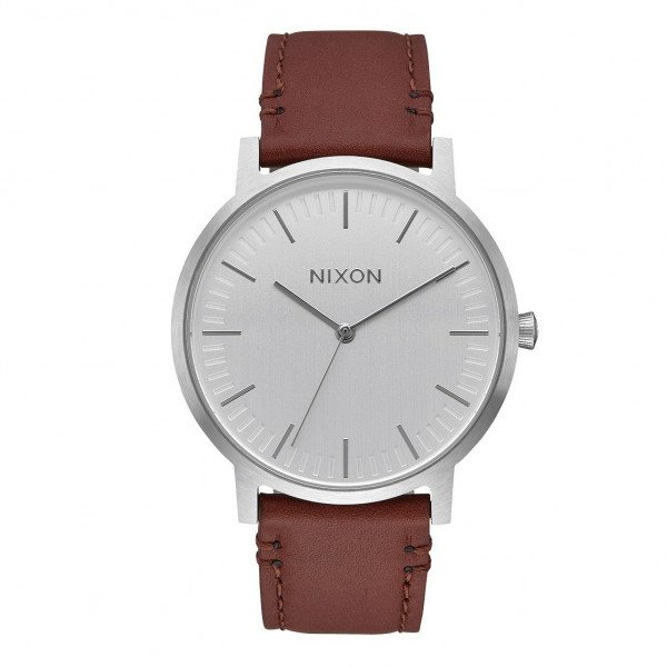 NIXON WATCH PORTER LEATHER SILVER BROWN