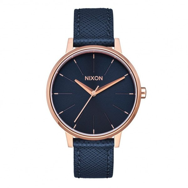 NIXON WATCH KENSINGTON LEATHER NAVY ROSE GOLD